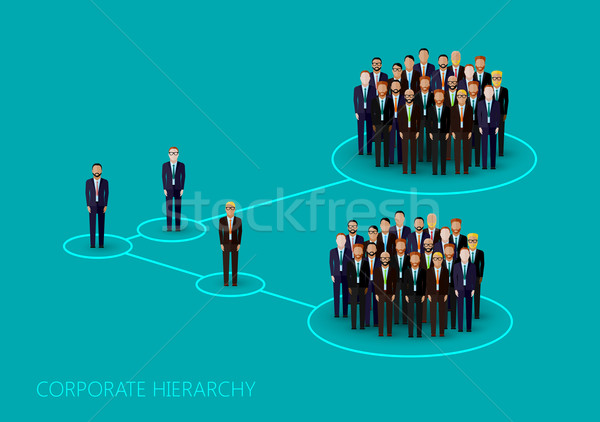 vector flat illustration of a corporate hierarchy structure. a a crowd of men (business men or polit Stock photo © maximmmmum