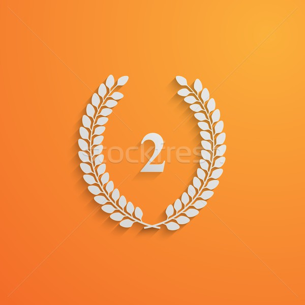 vector illustration of laurel wreath.3d paper design with long shadow. 2 place Stock photo © maximmmmum