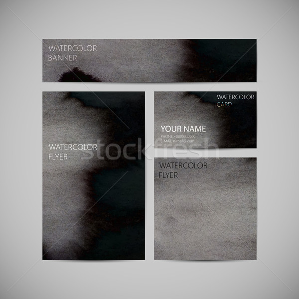 set of vector visual corporate identity with black paint waterco Stock photo © maximmmmum