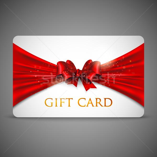 Tarjeta de regalo rojo arco textura resumen cumpleanos Foto stock © maximmmmum