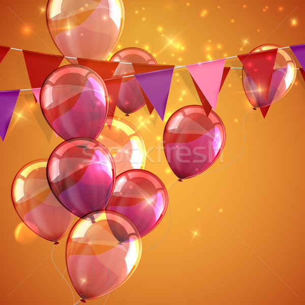 illustration of bunting flags, flying balloons and sparkles Stock photo © maximmmmum
