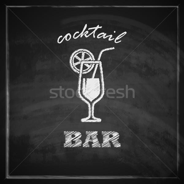 vintage illustration with cocktail on blackboard background. bar sign  Stock photo © maximmmmum