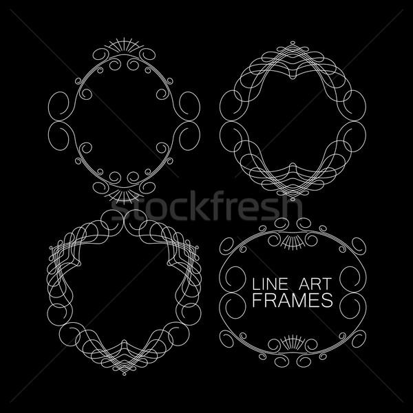 Vector ingesteld monogram frames lijn Stockfoto © maximmmmum