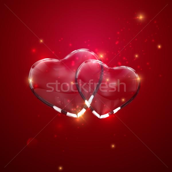 Glass transparent heart couple with sparkles.  Stock photo © maximmmmum