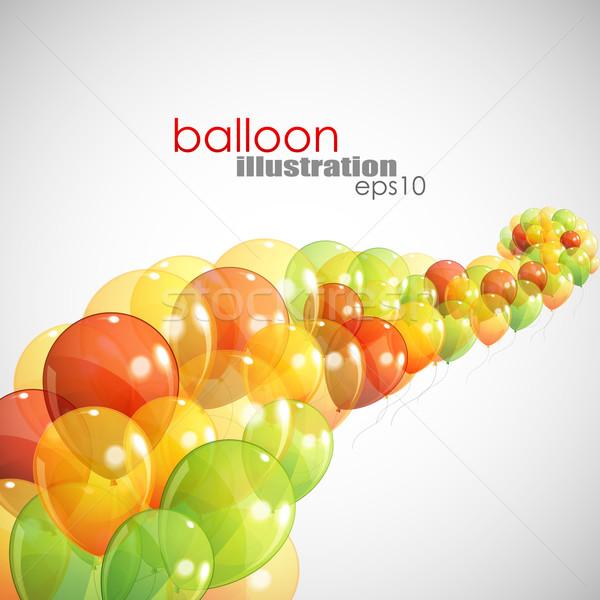 Abstract veelkleurig ballonnen verjaardag achtergrond geschenk Stockfoto © maximmmmum
