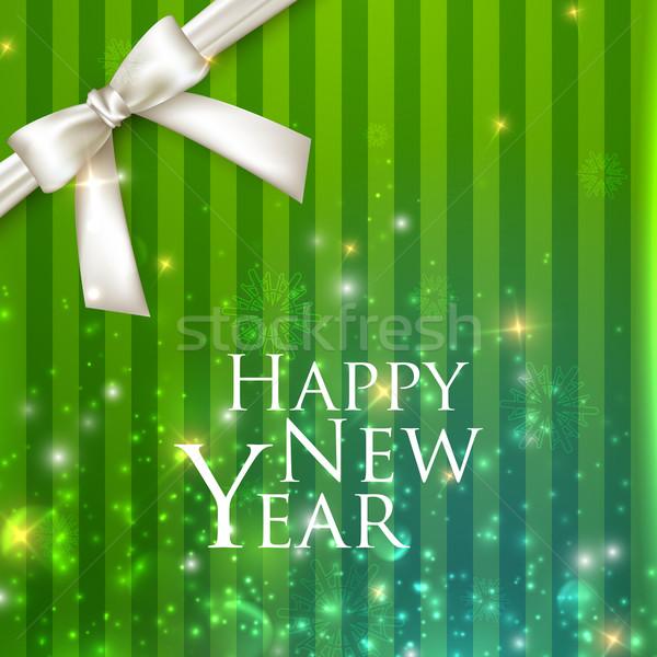 Zdjęcia stock: Wakacje · wektora · biały · łuk · szczęśliwego · nowego · roku · szczęśliwy
