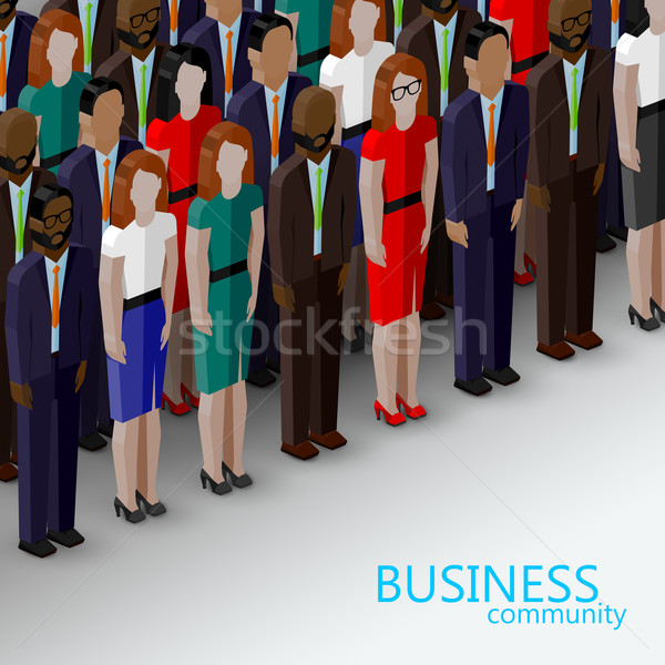 vector 3d isometric  illustration of business or politics community. a large group of well-dresses m Stock photo © maximmmmum