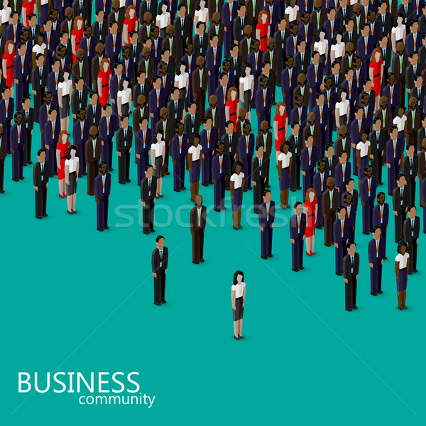 vector 3d isometric illustration of business or politics community. a crowd of men and women (busine Stock photo © maximmmmum