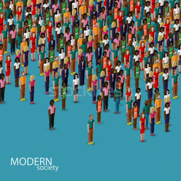 vector 3d isometric illustration of society members with a crowd of men and women. population. urban Stock photo © maximmmmum