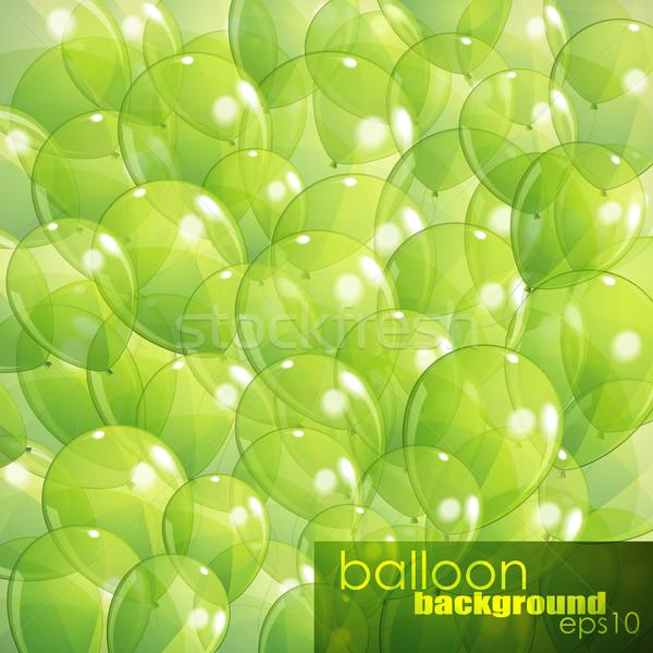 Yeşil şeffaf balonlar doğum günü eğlence hediye Stok fotoğraf © maximmmmum