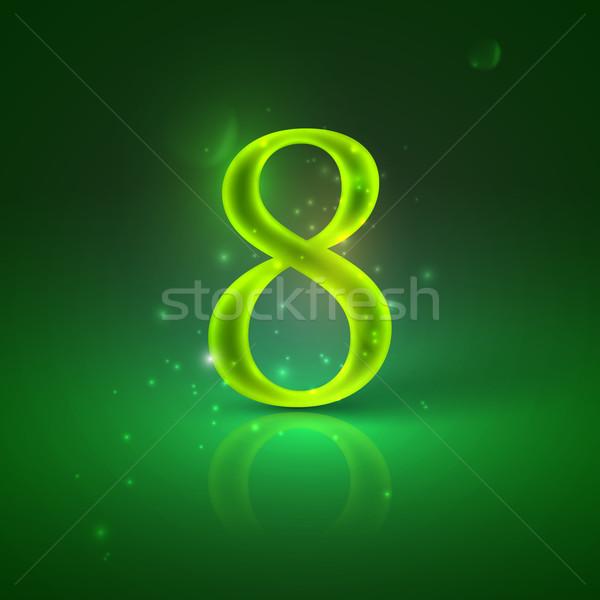 8. Green glowing number eight  Stock photo © maximmmmum