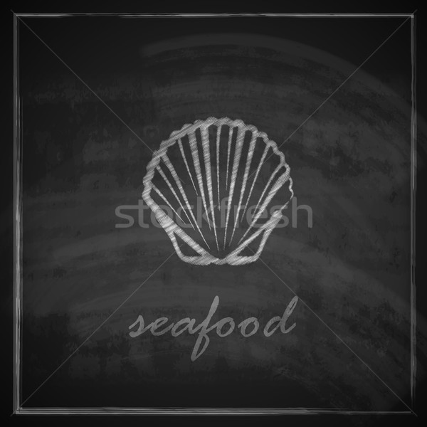 vintage illustration with a clam on blackboard background  Stock photo © maximmmmum