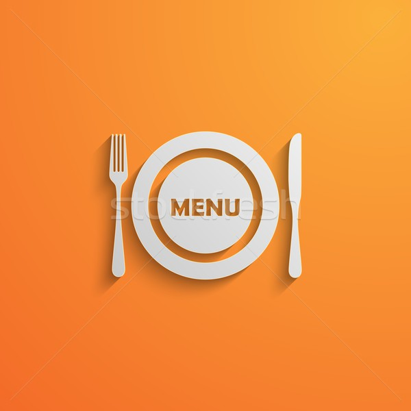 vector illustration of a plate and cutlery. 3d paper design style with long shadows. Lunch time conc Stock photo © maximmmmum
