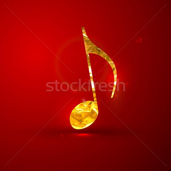 vector illustration of a golden metallic foil music note on the  Stock photo © maximmmmum