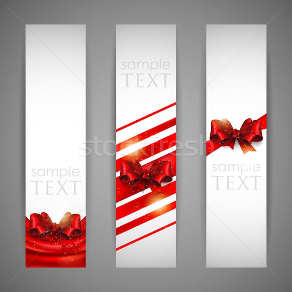 Stok fotoğraf: Ayarlamak · afişler · kırmızı · yaylar · sevmek