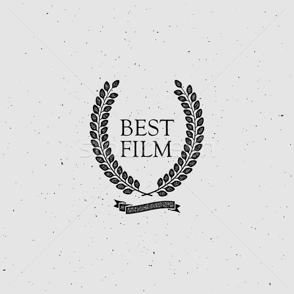 Meilleur film attribution signe vintage couronne Photo stock © maximmmmum