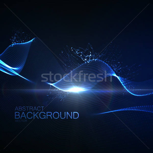 3D illuminated neon digital wave Stock photo © maximmmmum