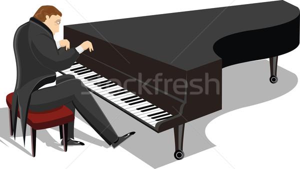 Zongora férfi illusztráció játszik zene kéz Stock fotó © maximmmmum