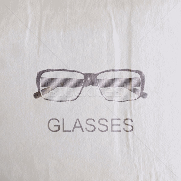 vector illustration of engraving glasses on the old wrinkled paper texture. fashion sketch Stock photo © maximmmmum
