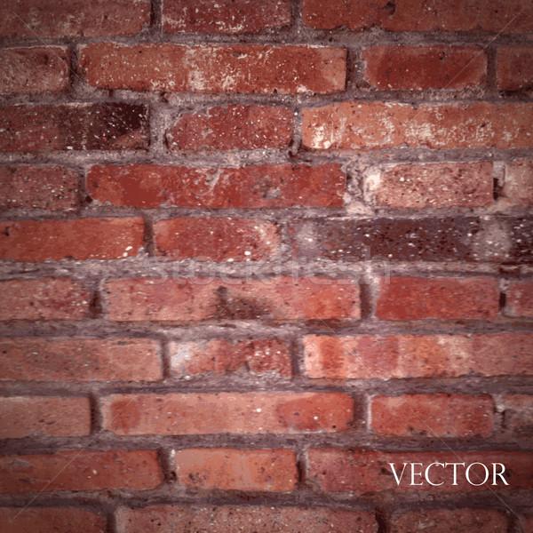 Foto stock: Vetor · textura · vermelho · parede · de · tijolos · edifício · parede