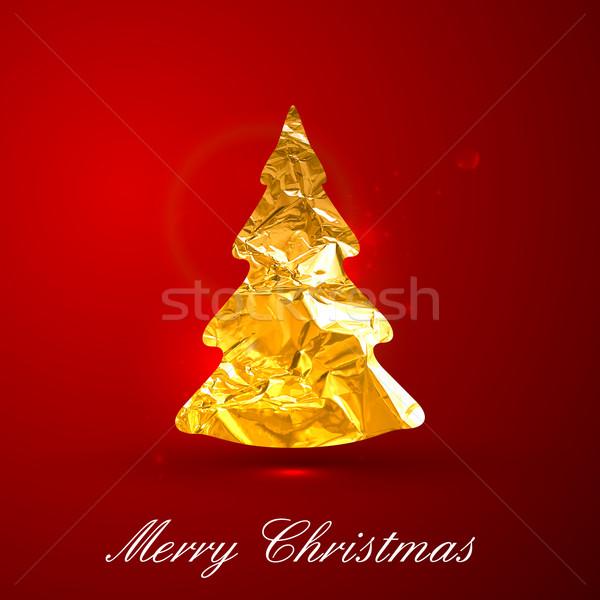 Holiday vector illustration of a golden metallic foil Christmas  Stock photo © maximmmmum