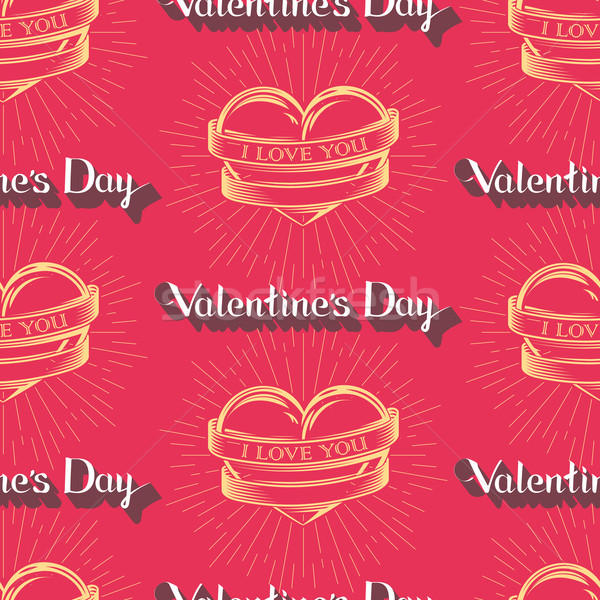 vector seamless pattern with engraving hearts,  ribbons, hand-written lettering words and burst ligh Stock photo © maximmmmum
