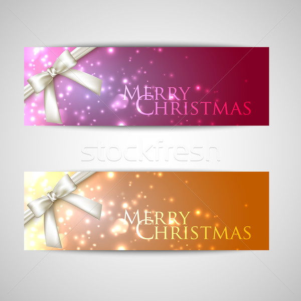 set of elegant Christmas banners with white bows and sparkles  Stock photo © maximmmmum