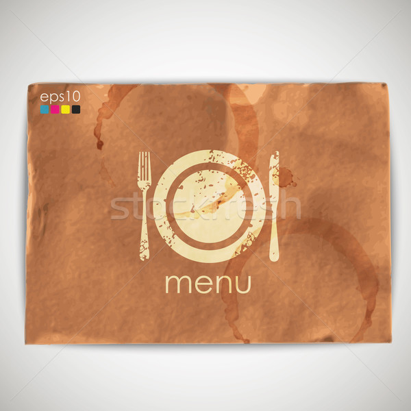 abstract background with grunge cardboard texture and menu sign Stock photo © maximmmmum
