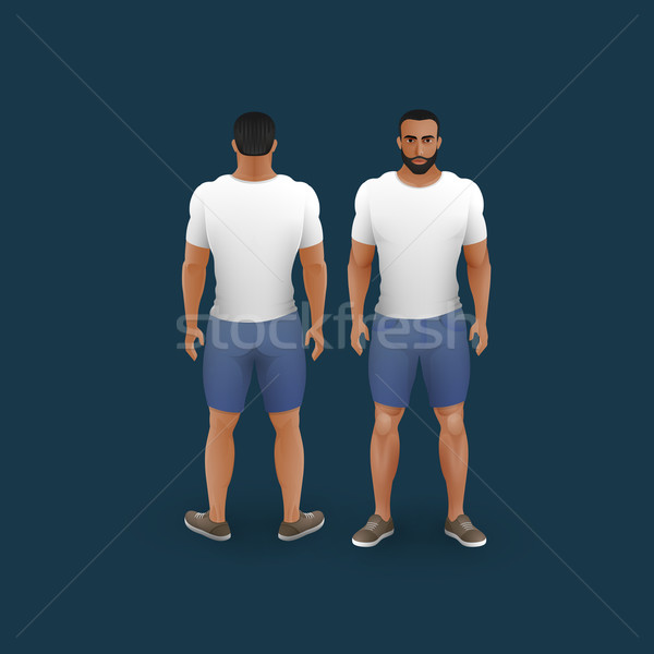 Mannen shorts tshirt vector mode illustratie Stockfoto © maximmmmum