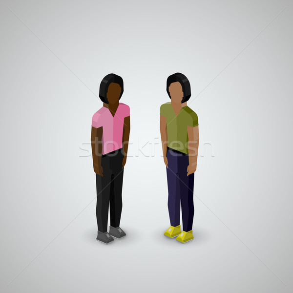vector 3d isometric illustration of men or guys wearing casual style clothes Stock photo © maximmmmum