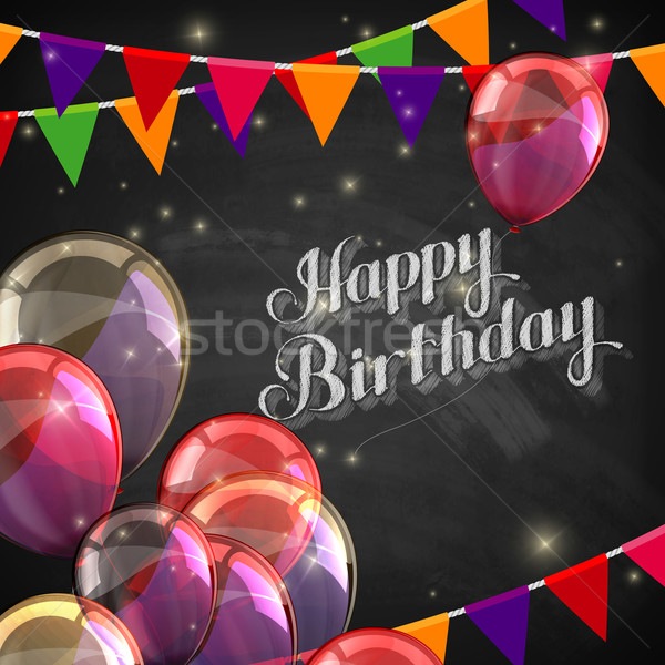 chalk illustration of Happy Birthday emblem with balloons and flags Stock photo © maximmmmum