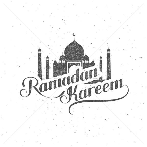 Stock fotó: Kézzel · írott · ramadán · retro · címke · vektor · tipográfiai