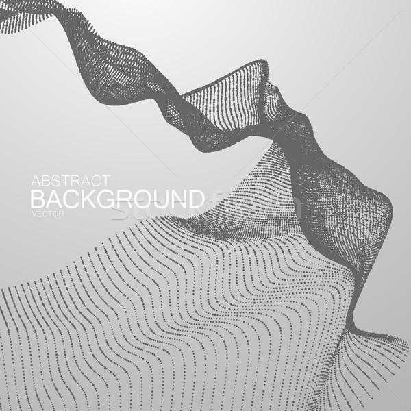 3D аннотация цифровой волна частицы Черно-белые Сток-фото © maximmmmum
