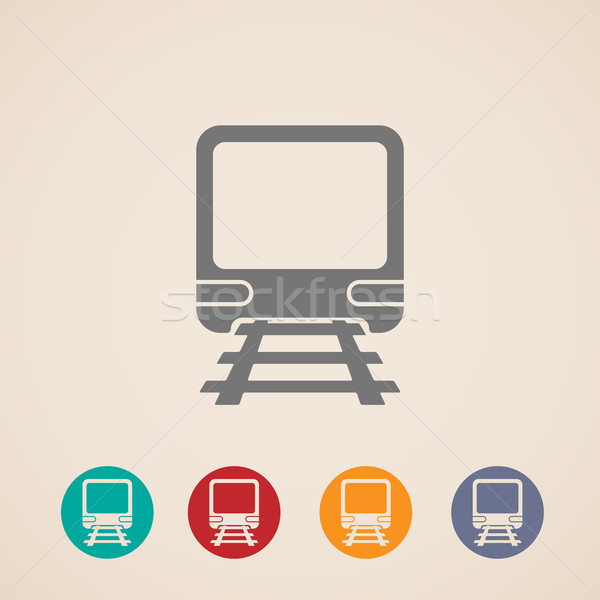 Stock photo: vector icon of train. metro, underground or subway train. rapid  transit sign. transportation concep