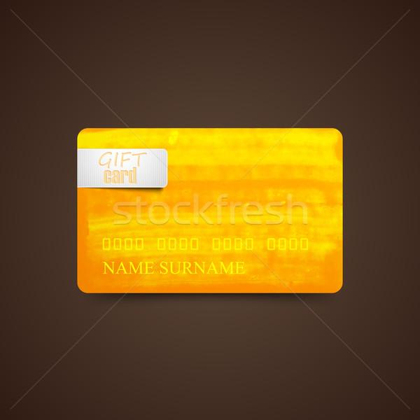 Pomarańczowy akwarela atramentu tekstury gift card szablon Zdjęcia stock © maximmmmum