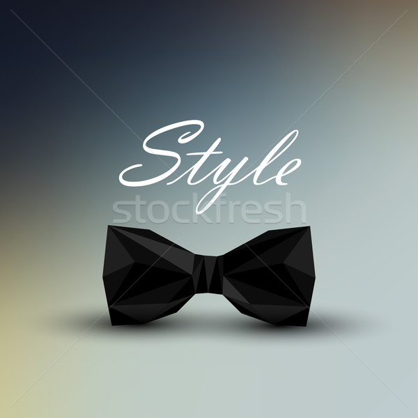 vector illustration of a black bow tie in low-polygonal style. men fashion style concept Stock photo © maximmmmum