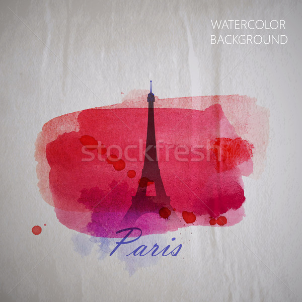 vector watercolor illustration of Paris Eiffel tower on the old  Stock photo © maximmmmum