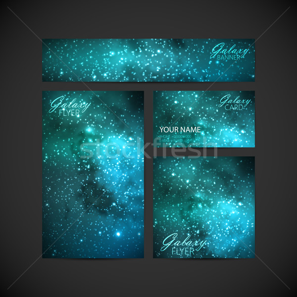 Ingesteld vector corporate identiteit Galaxy melkachtig Stockfoto © maximmmmum