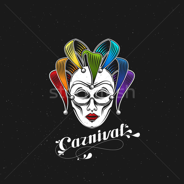 vector illustration of engraving rainbow carnival mask emblem and ornate lettering logo. Masquerade  Stock photo © maximmmmum