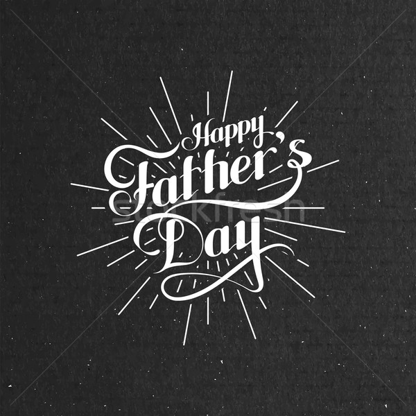 handwritten Happy Fathers Day retro label with light rays Stock photo © maximmmmum