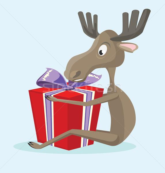 Elk with a gift box Stock photo © maximmmmum