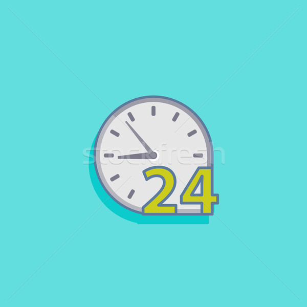 simple vector illustration with open 24 hours a day icon flat de Stock photo © maximmmmum