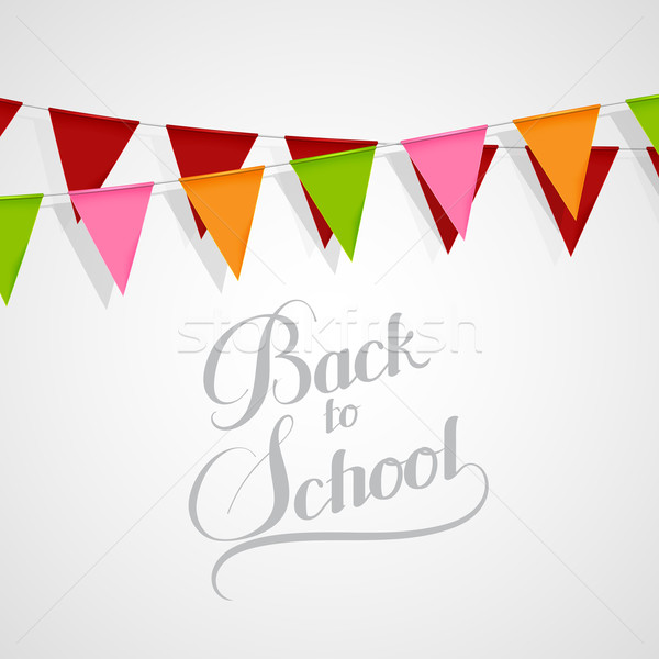illustration of Back To School retro label and bunting flags. Stock photo © maximmmmum