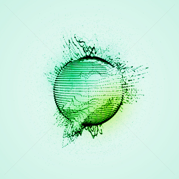 sphere of particles, wireframe and splashes Stock photo © maximmmmum
