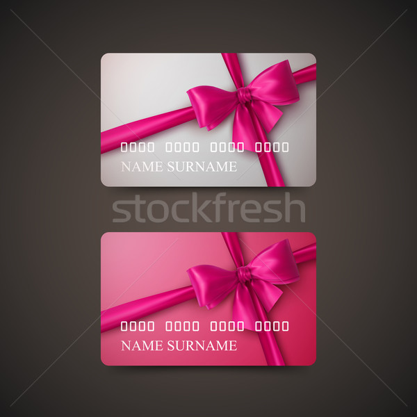 Gift Cards With Pink Bow And Ribbon. Stock photo © maximmmmum