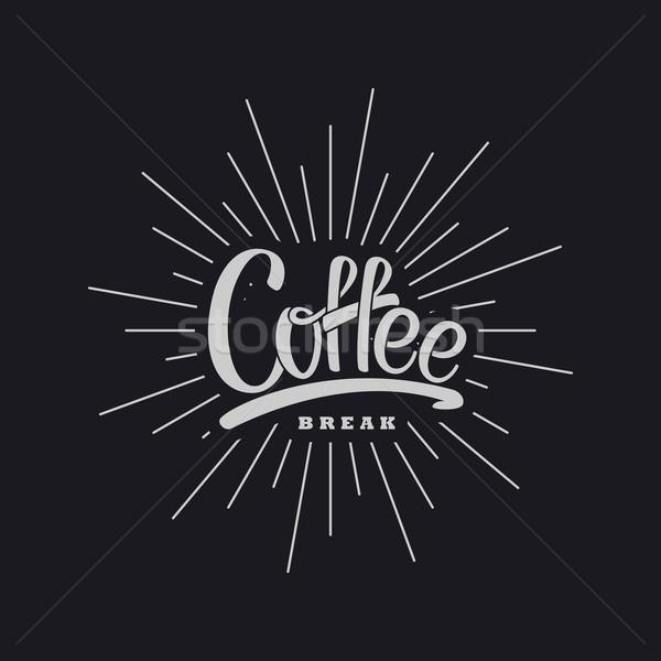 Café vecteur illustration pause café étiquette lumière Photo stock © maximmmmum