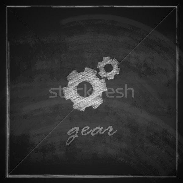 vintage illustration with a gear icon on blackboard background. Stock photo © maximmmmum