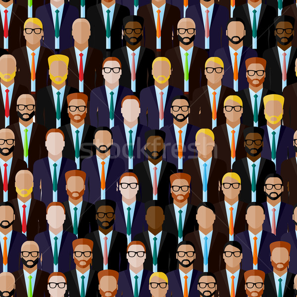 vector seamless pattern with men (businessmen or politicians) crowd. flat  illustration of business  Stock photo © maximmmmum