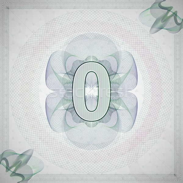 vector illustration of number 0 (zero) in guilloche ornate style. monetary banknote background Stock photo © maximmmmum