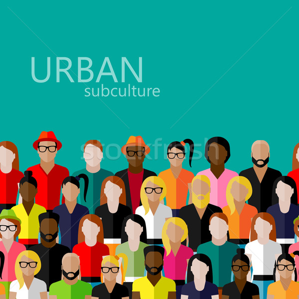 vector flat  illustration of society members with a large group of men and women. population. urban  Stock photo © maximmmmum